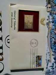 22kt Gold Plate 1991 Replica Stamp Us District Of Columbia Bicentennial