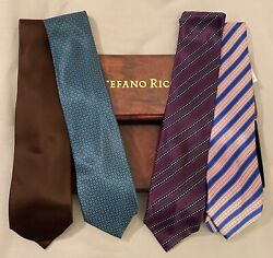 Nwt Lot Of 4 Stefano Ricci Luxury Silk Neckties - Made In Italy - Regular Fit