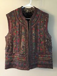 Romanian/hungarian Antique Leather/embroidered Fleece Costume/ceremonial Vest