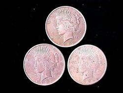 3 Different Peace Silver Dollars 1922, 1923, And 1925 Shipped Free In One Day