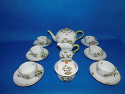 Herend Rothschild Giant Tea Set For 6 Person With Round Pot Porcelain