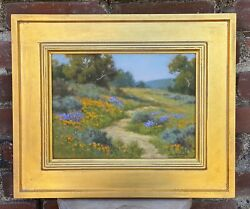 David Chapple Nfl Football Spring Wildflowers Oilpainting Gold Frame Signed 9x12