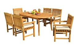 A-grade Teak 7pc Dining 94 Oval Table 6 Devon Arm Chairs Set Outdoor Patio