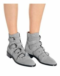 Givenchy Gray Elegant Studded Suede Ankle Boots 37 Buckle Detail