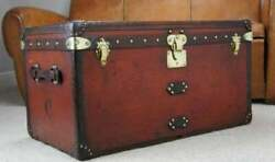 Vintage 1920s Antique Handmade Leather Occasional Side Table Trunks