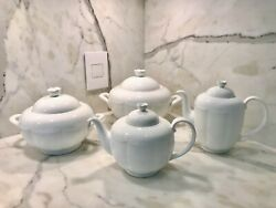 Villeroy And Boch Damasco Weiss White Bone China 2 Servers And Tea And Coffee Pot