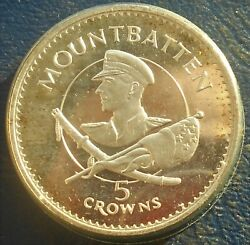 Rare Silver 1980 Turks And Caicos Islands 5 Crowns Mountbatten Low Mintage Bu Wb5