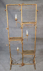 Hollywood Regency Italian Gilded Tole Metal Étagère With Candle-form Lights
