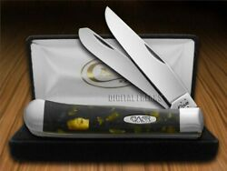Case Xx Trapper Knife Chipped Antique Gold And Black Pearl Corelon Stainless