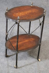 Small Wrought Iron And Walnut French Empire Taboret End Table Pineapple Finials
