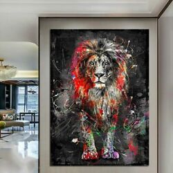 Colorful Lion Painting Modern Animal Wall Art Picture Canvas Poster Printed Art