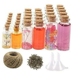 44pcs Mini Glass Jars Bottles With Cork Stoppers Wish Bottles(20pcs 5ml And 12p