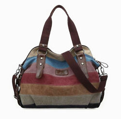Women#x27;s Canvas Handbag Hobo Bag Rainbow Striped Cross Body Purse Tote Satchel US $22.99