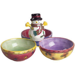 Sango Sweet Shoppe Christmas 3-part Divided Handled Candy Dish 5611532