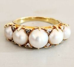 Antique French Belle Époque 18ct Pearl And Diamond Five Stone Ring M 1900