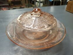 Rare Federal Depression Glass Sharon Cabbage Rose Covered Cheese Dish Pink,euc