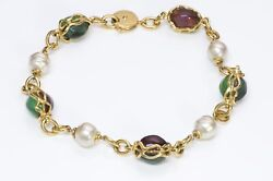 Yves Saint Laurent Ysl Robert Goossens Gold Plated Green Red Glass Necklace