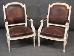 Pair French Carved White Painted Genuine Top Grain Leather Fauteuills Armchairs