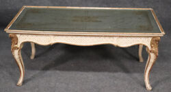 Signed Maison Jansen Eglomise Gilded Painted Louis Xv Mirrored Coffee Table