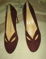 Walter Stieger Handmade In Italy Suede Shoes In Burgundy 7.5 7 Laser-cut Accent