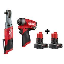M12 Fuel 12-volt Brushless Cordless 3/8 In. Ratchet And 1/4 In. Impact Wrench