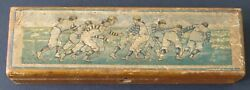 1890's Antique Vintage Football Players Wooden Pencil Boxrare