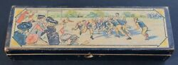 Late 1800's Early 1900's Antique Vintage Football Players Wooden Pencil Box