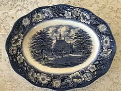 Staffordshire Liberty Blue Historic Colonial Scenes 12 In Platter Ironstone