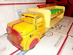 Marx Lithographed Tin Coca-cola Truck W Cased Bottle Gift Toy Art Craft Vintage