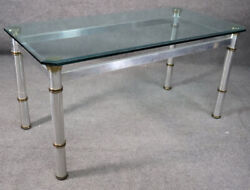 Attributed John Vesey Brass And Glass Metal Dining Table With Beveled Glass Top