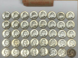 1 Roll Bu1955 Silver Washington Quarters 10 Fv Receive Original Roll Pictured