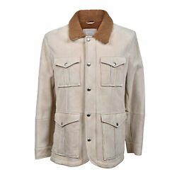 Brunello Cucinelli Men's Fur Lined 100 Suede Leather Bomber Sizes S-m