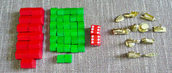 11 Gold Tokens 32 Wood Houses 13 Wood Hotels 2 Dice From Monopoly Deluxe 1984