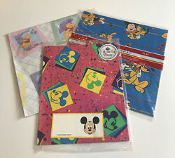 Lot Of 3 Hallmark Disney Mickey Minnie And Pooh Bear Wrapping Paper Gift Wrap