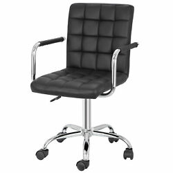 Modern Home Office Desk Chairs Leather With Wheels/armless 360anddeg Swivel Black