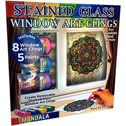 Joy Of Coloring Zorbitz Stained Glass Window Art Cling Kit Diy 8 Clings And 5