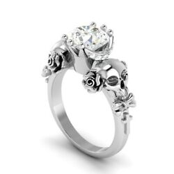 1.60ct White Round Diamond Two Skul Engagement Ring Solid 925 Sterling Silver