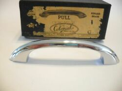 Vintage Nos Heavy Chrome Plated Forged Brass Drawer Pull Cabinet Door Handle