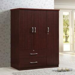 3 Door Armoire w 2 Drawers Bedroom Closet Cabinet Wardrobe Clothes Organizer