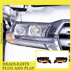 For Toyota Land Cruiser 16-19 Headlights Double Xenon Beam Hid Projector Led Drl