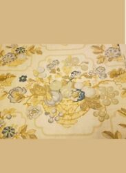 Travers Co Clermont Linen Beige Brown Blue Floral Fruit Berries Fabric 6 Yd Nc