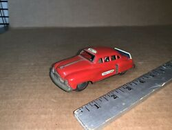 Rare Vintage Red Taxi-cab Tinplate Japanese Friction Toy Car