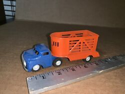Rare Vintage Tinplate Litho Friction Cattle Truck And Trailer 1960's Japan
