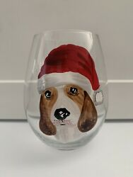 Pier 1 CHRISTMAS PUPPIES Stemless wine glass BEAGLE in Santa Hat NEW