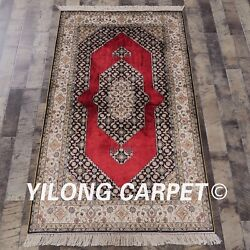 Yilong 3'x5' Handknotted Silk Carpet Home Interior Red Unique Pattern Rug L128a