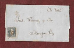 1855 Spanish Colonial Letter Circulated With Stamp Number 1