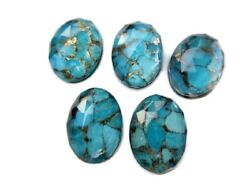 50 Piece Oval Shaped Blue Copper Turquoise Cabochon Faceted 25x17mm Each Gds1001