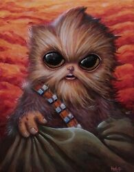 Original Baby Chewy Acrylic 11x14 Canvas Painting Star Wars Yoda Jedi By Hutch