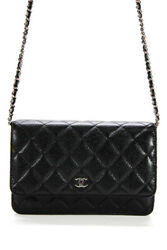 RE REVIEW Chanel Quilted Caviar Leather Wallet On Chain Crossbody Handbag Black $2200.00
