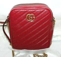 Gucci GG Marmont Crossbody Tall Red Matelassé Leather Messenger Bag 550155 New $999.99